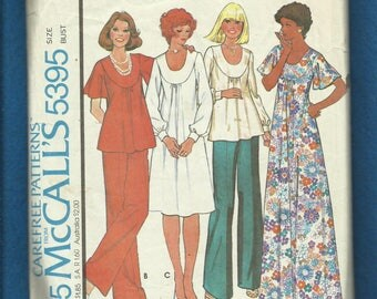 1976 McCalls 5395 Muumuu Tunic & Dress with U Shaped Neckline  Angel Wing Sleeves Wide Leg Pants Size 14 UNCUT