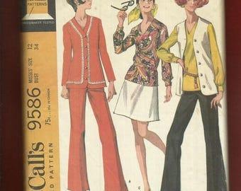 15% OFF SALE 1968 McCalls 9586 Stunning Late 60's Wardrobe Pattern Size 12