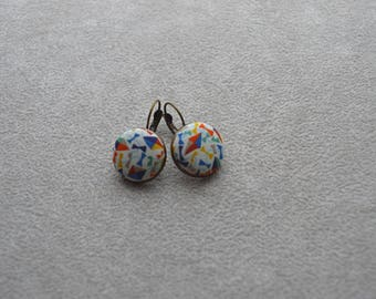 "Earrings collection""textiles""red, yellow and blue tone, Liberty fabric buttons"