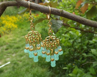 "Earrings ""Moira"" Czech glass, gold, brass plated pins gold"
