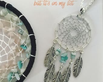 Silver dream catcher necklace with silver feather charms and aventurine bead insert silver dreamcatcher