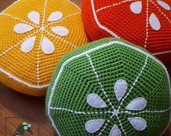 citrus pillow pattern, crochet pattern, citrus pillow