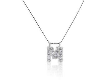 "Initial "" M "" 14K White Gold, 13  Round Diamond, in Prong Setting,  Pendant, - 3/8 CT .TW. Including chain"