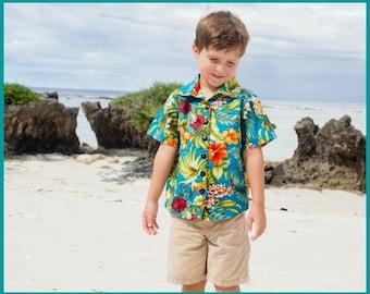 Boys Hawaiian Shirt; Teal with Orange Hibiscus and Foliage; Aloha Shirt; Sizes 12m through 8