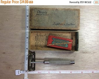 10% OFF 3 day sale Vintage Christy Safety Razor Pilot Model In Original Box With Blades Used