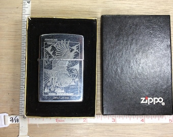 Vintage 1993 Zippo Cigarette Lighter American Eagle 200th Anniversary Scuffs Dings In Box Sparks Untested Used