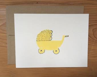 New baby yellow Pram greeting card