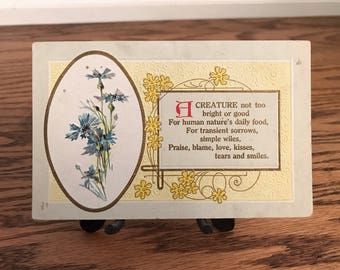 Antique Vintage Post Card Art Deco Art Nouveau Blue Flowers William Wordsworth She Was a Phantom of Delight The Perfect Woman Poetry Gift
