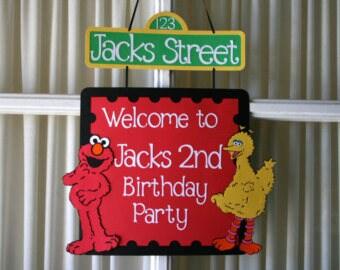 Elmo and Big Bird Birthday door Sign, Sesame Street birthday door sign, Elmo birthday