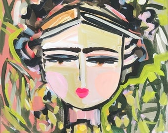 Frida Portrait, Frida Painting, original painting on canvas, abstract Frida, 18x18 square canvas