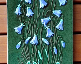 Swedish vintage 1960s larger rectangular jie Gantofta ceramic wall plaque with Bluebell flower motive, design by Aimo
