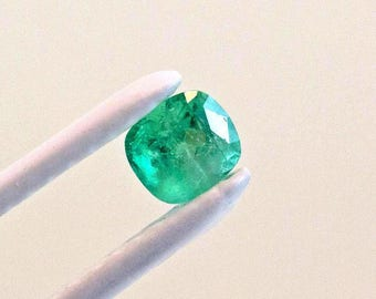 6mm Cushion Cut Natural Colombian Emerald Loose Gemstone