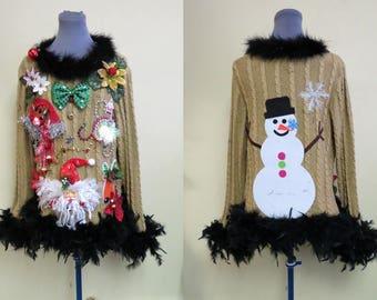 Black & Gold Glam Tacky Ugly Christmas Sweater,  Foo-Foo Feather Boa Trim Sz XL, Bedazzled Light up Sweater, Metallic Gold, Heavy Black Boa