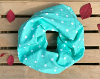 Baby scarf, Toddler Scarf, Infant Scarf, Infinity Scarf, Children's aqua polka-dot Scarf, Flannel Infinity Scarf Infant/Toddler Scarf