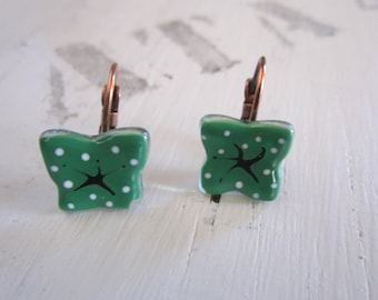 Glass fusing glass green dark with white dots, brass Leverback Earrings