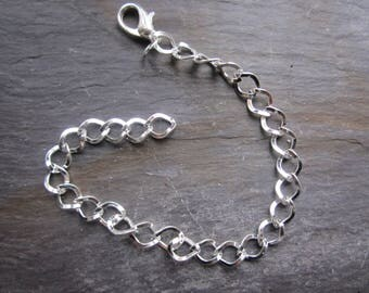Chain bracelet for charms, silver metal 4 way link