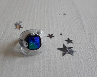 Glass ring fused glass, dichroic, adjustable silver ring, 2 to choose
