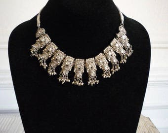 Vintage Silver Tone Rhinestone India Ethnic Dangling Choker Necklace