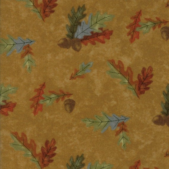 Burnt Orange Leaves On Golden Brown Background In Flannel From Holly Taylor Fall Impressions Moda Fabric By The Yard 6702 12F