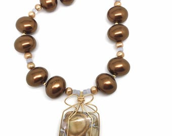 Peanut Jasper, Mother of Pearl, Natural Chalcedony and Golden Pearl Statement Necklace // necklaces // jewelry // pendant // gifts for her