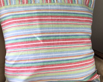 Stripe Pillow Cover 22 x 22 inch Pillow Cover Bright Stripe Pillow Cover Summer Stripe Pillow Cover Multicolored Stripe Pillow Cover
