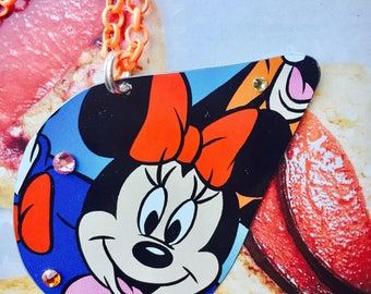 Minnie or Mickey Mouse necklace; vintage disney tin; Upcycled tin; Mickey Mouse jewelry