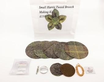 Small Brown & Green Harris tweed brooch making kit