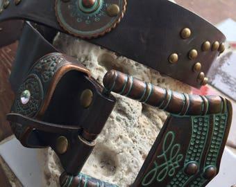 Concho turquoise vintage leather belt