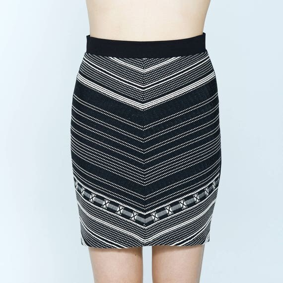 MIMOSA - Printed pencil skirt,body-conscious skirt, fitted miniskirt for womens - black striped