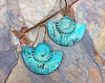 Tribal earrings patina earrings boho earrings rustic earrings gypsy earrings ethnic earrings moroccan earrings