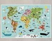 Kinderweltkarte Poster Kinderzimmer Illustration illustrierte Weltkarte für Kinder XXL Tiere Kontinente Plakat Kids Kleinkind Wanddekoration