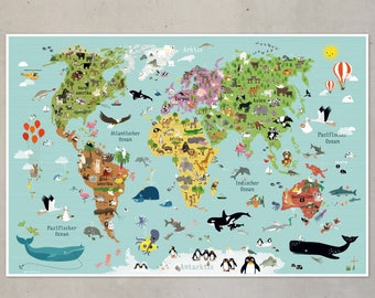 illustrated world map for children XXL poster animals illustration
