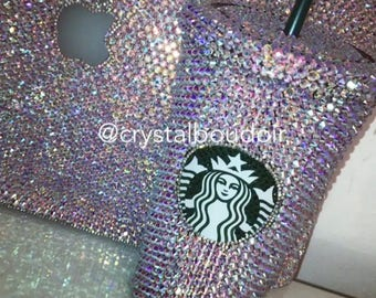 Custom Crystalised Starbucks Cup - Any Colour Crystals Can Be Used
