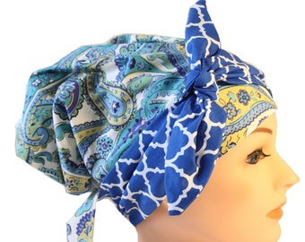 Scrub Hat Cap Chemo Bad Hair Day Hat  European BOHO Banded Pixie Tie Back Blue Green Paisley Bright Blue Tie Band 2nd Item Ships FREE