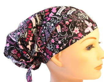 Scrub Hat Cap Chemo Bad Hair Day Hat  European BOHO Pixie Black Pink Ribbon Cancer Awareness  2nd Item Ships FREE