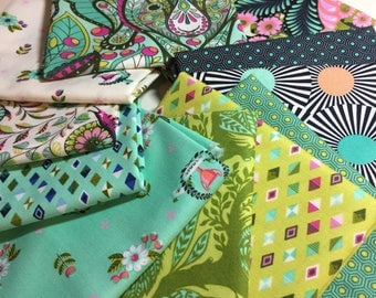 Tula Pink Fabric Slow & Steady GREEN 11 PC Collection for FreeSpirit Fabric  - 100 % Quality Cotton -11 pc FQ yd Bundle