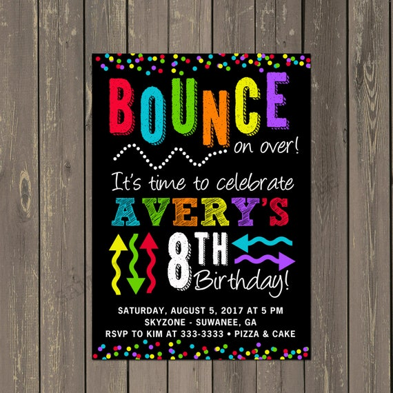 Trampoline Party Invitations: Bounce Party Invitation, Trampoline Park Birthday Party