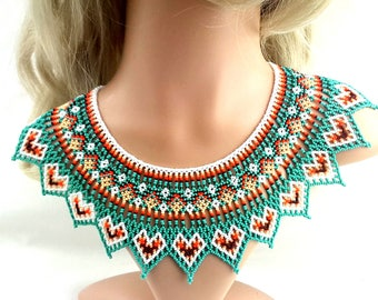 Huichol Beaded Collar Necklace