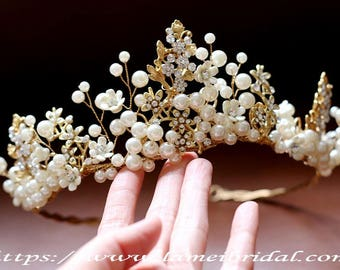 Golden Goddess Wedding pearl Crown, Bridal  Circlet head Wreath with Golden Leaves and Small pearl Flowers, Gold Bridal crown