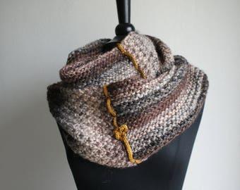 Long circular scarf, 100% pure wool + lurex black gold