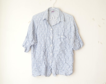 baby blue floral print button down shirt blouse 90s // M-L