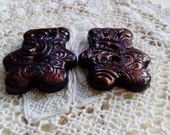 Pair of teddy bear buttons, brown bronze bear buttons, handmade buttons, unique buttons, sewing, knitting, crafts, scrapbooking