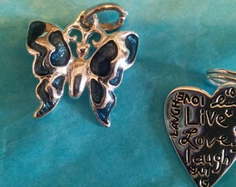 sterling enamel butterfly and heart charms