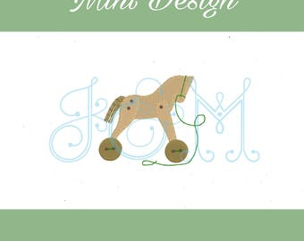 Mini Rocking Horse Pull Toy Button Vintage Style Machine Embroidery Design