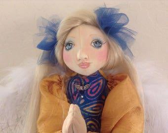 Darnique the Dragonfly Charmer OOAK Cloth Art Doll Wall Affirmation Angel