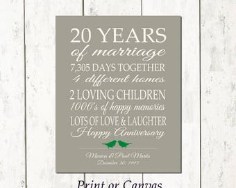 20 Year Anniversary Gift 20th Anniversary Art Print Personalized Anniversary Gift for Parents Anniversary Gift for Wife Gift for Husband