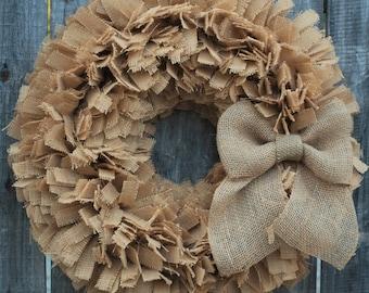 Burlap Wreath, Rag Wreath, Neutral Wreath, Front Door Wreath, Farmhouse Decor, Rustic Wreath, Prmitive Wreath, Country Wreath, Indoor Wreath
