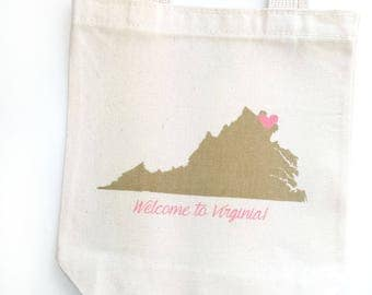 Set of 12 Virginia Wedding Welcome Bags, custom tote bags, bulk pricing, state welcome bags, hotel totes, wedding guest favors