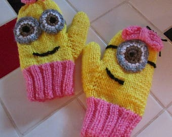 Hand knitted Minion mittens