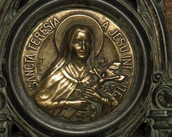 Antique French religious prayer ornate plaque picture frame Saint Therese of Lisieux